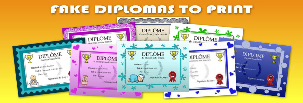 A presentation of several fake diplomas